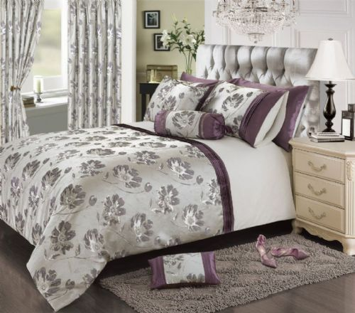 PLUM MAUVE COLOUR STYLISH FLORAL JACQUARD DUVET COVER LUXURY BEAUTIFUL GLAMOUR BEDDING